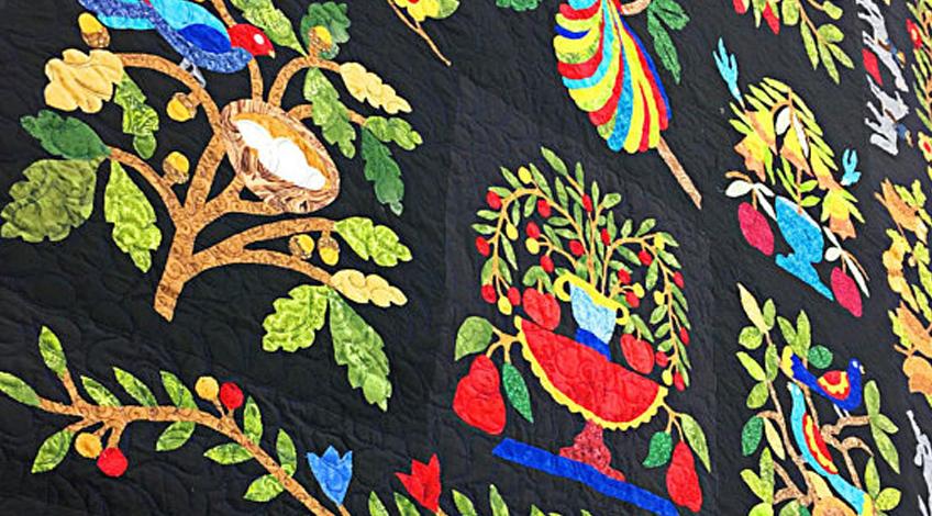 Woven Basket design is a recreation of a published antique quilt design