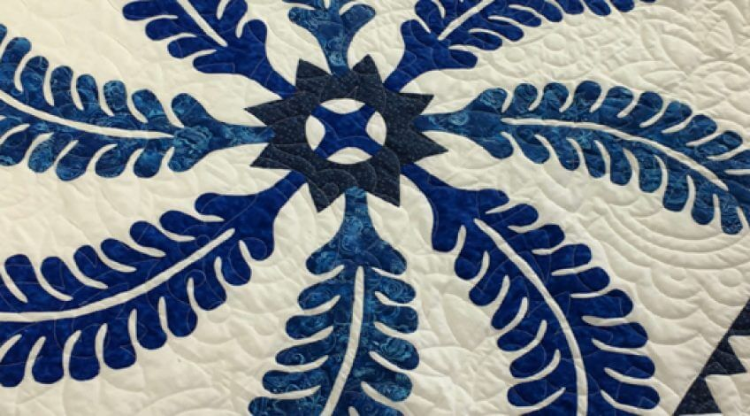 Blue & White Antique Styled Princess Feather Finished Quilt King